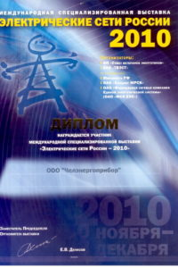 Diploma of Electrical Russia networks 2010