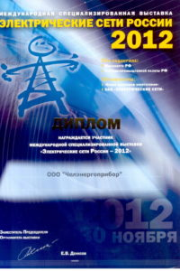 Diploma of Electrical Russia networks 2012