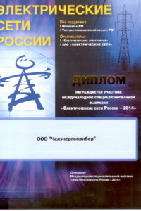 Diploma of Electrical Russia networks 2014