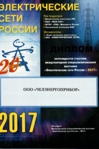 Diploma of Electrical Russia networks 2017